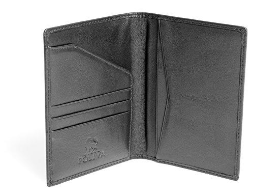 POLIVA Reisepasshülle für Herren | Kreditkartenetui mit RFID-Schutz | Organizer für Dokumente | 6 Ablagefächer | Kalbsleder Handarbeit | DIN A6 | Schwarz (Handarbeit Kalbsleder Schwarze)