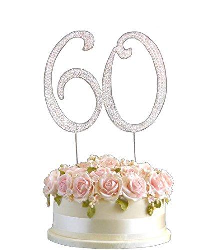 Strass Geburtstag Jahrestag Kuchen-Deckel Nummer 60. Diamante Edelstein -Dekoration Pick - 60 (Geburtstag-kuchen-deckel 18)