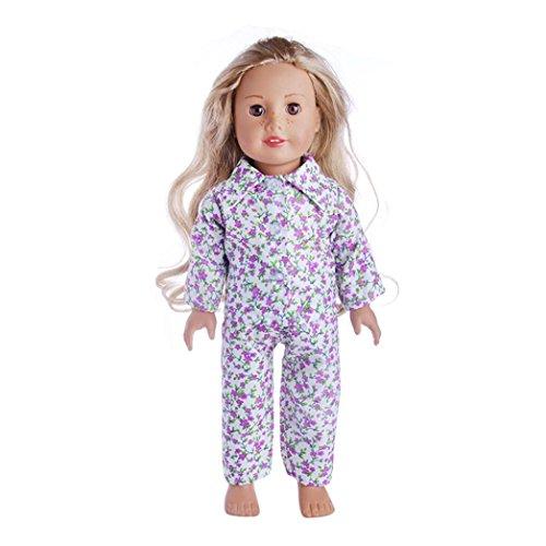 45,7cm Puppenkleider Set für American Girl Boy Puppe Unsere Generation mingfa Süßer Pyjama Fell Hose Outfits Puppe Zubehör (Taille Steigen Hoch)
