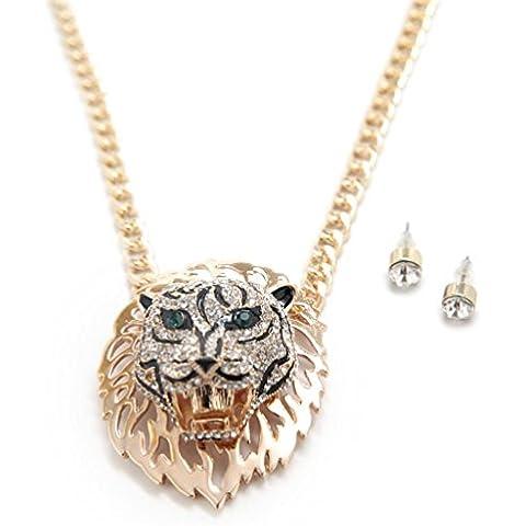 Lux accessori, grande, con ciondolo a forma di leone, colore: verde con orecchini in coordinato