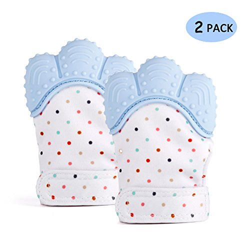Hangnuo 2 Pack Baby Teething Mittens for Infants – Toddlers Crinkle Toys Teether Mitten Gum Pain Relief 41rduIWe3jL