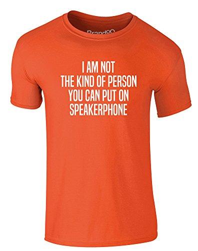 Brand88 - Speakerphone, Erwachsene Gedrucktes T-Shirt Orange/Weiß