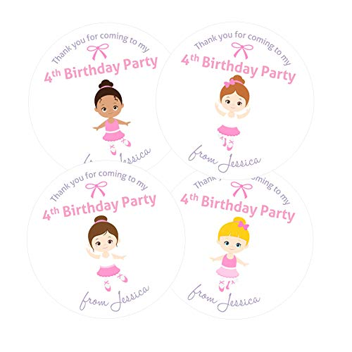 Ballerina Personalised Birthday Party Stickers - Ballet Gift Tags/Labels for Party Bags or Sweet Cones