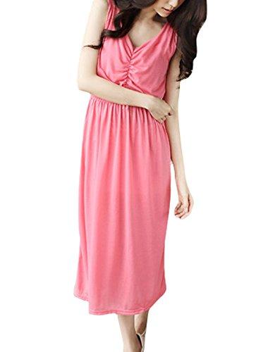3452 Damen Sanftheit Plissiert Elegant Gummibund Kleid Rosen Rosa