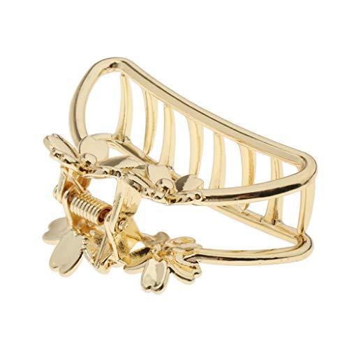 Hellery Damen Metall Gold Haarschmuck elegante Haarklammer Haarspange Klammer Geometrisch für Haar Styling - Blume