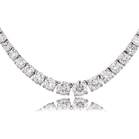 22.03collana Set Tennis diamante taglio brillante G/VS2certificato ct in oro bianco 18K