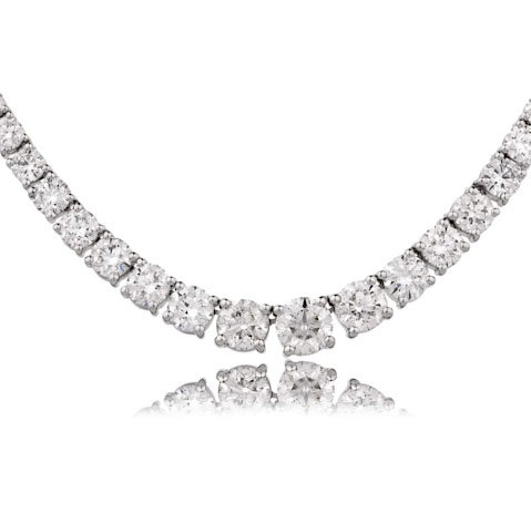 22.03CTS Certified G/VS2 Brilliant Diamond Cut Set Tennis Necklace in 18k White Gold