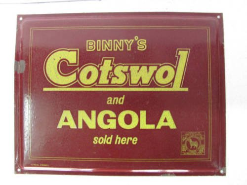 Vintage Porcelain Enamel Sign for Binny's Cotswol & Angola wool ADV EHS
