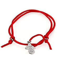 SODIAL(R) Pulsera de plata tibetana de cordon rojo de deseo del angel de guarda chic