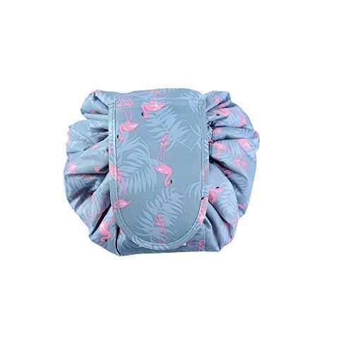 GOURDOLL Flamingo Lazy Cosmetic Bag Large Capacity Drawstring Makeup Pouch Travel Storage Organizer (A:Flamingo Lazy Bag)