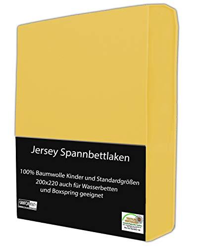 Jersey Spannbettlaken, Spannbetttuch klassisch in vielen modernen Farben und 6 Größen 100{cfb2937b852af151cf9833f2e5eb37522be199251cbb8de1ec86b52cae1f04e4} Baumwolle, 200x220 cm auch für Wasserbetten und Boxspringbetten geeignet Gelb