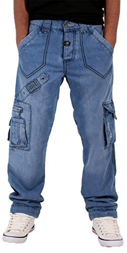 peviani-da-uomo-boys-waterloo-vero-star-blu-cargo-denim-jeans-time-g-religion-hip-hop-stone-wash-blu