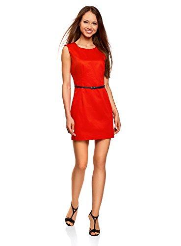 Baumwolle Mini-kleid (oodji Ultra Damen Tailliertes Baumwoll-Kleid, Rot, DE 38 / EU 40 / M)