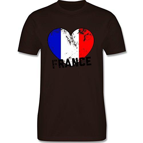 EM 2016 - Frankreich - France Herz Vintage - Herren Premium T-Shirt Braun