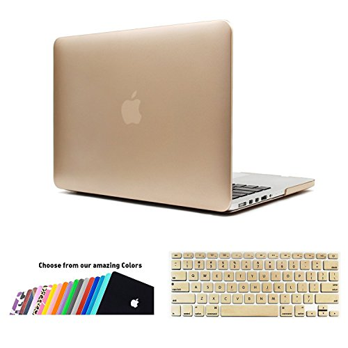 MacBook Pro 13 Retina Custodia Cover - iNeseon 2 in 1 Plastica Cover Rigida Duro Caso, US Versione Oro Tastiera Copertina e EU Versione Trasparente Tastiera Copertina per Apple MacBook Pro 13.3 pollici con Retina Display Modello: A1502 e A1425 (Oro)