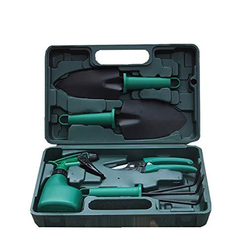 DSAEFG 5-Piece Garden Tool Set, with Shovel Spade Garden Scissors Weed Trowel Spray Bottle in Carry Case for Garden Care Gardening