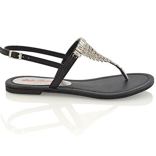 Cinturino Posteriore Donna Essex Glam Scintillante Sandalo Nero Finto Infradito Effetto Diamante con AAX7Fq