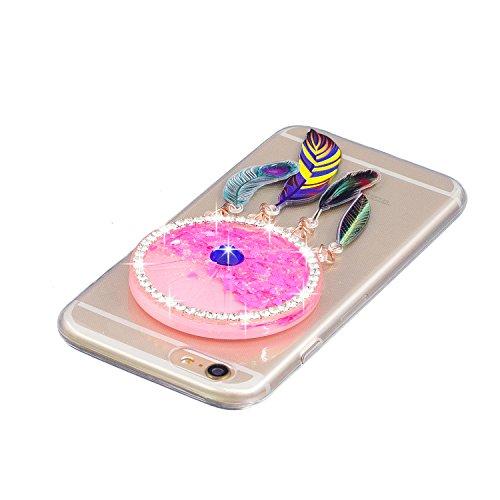 Coque iPhone 6 Plus , Etui Housse Liquide Sables Mouvants Bling Glitter Paillettes Enveloppe Coque Flexible Gel Silicone Transparente TPU pour Apple iPhone 6 Plus (5.5 pouces) Case Cover E-Lush Bumper Rose