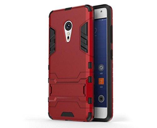 Bllosem Lenovo ZUK Z2 Pro Hülle Hybride Dual-Layer PC+TPU Kompletter Schutz Standfunktion Tasche für Lenovo ZUK Z2 Pro Rot