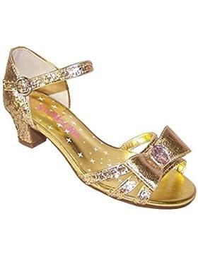 Zapatos de vestir con tacón bajo dorados para chicas ocasiones especiales