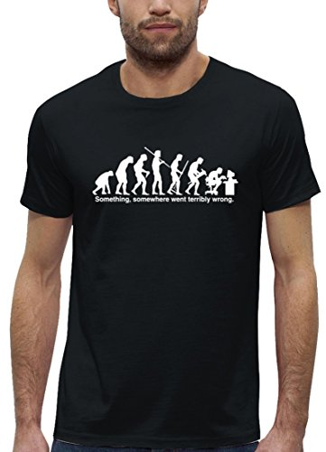 Nerd Premium Herren T-Shirt aus Bio Baumwolle EVOLUTION SOMETHING, SOMEWHERE... Stanley Stella Black