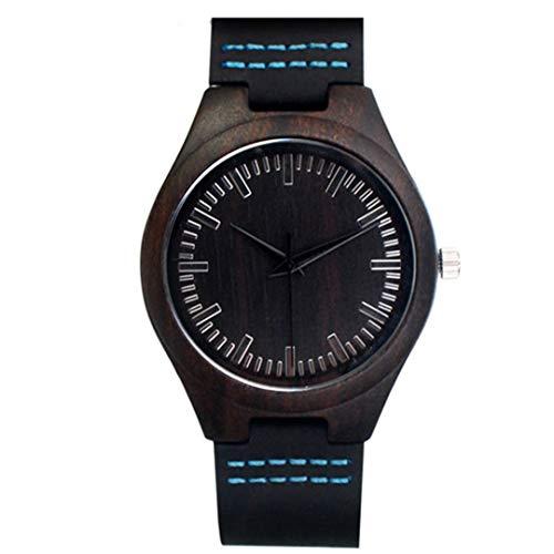 Vintage Bambus Holz Paar Uhren Mit Echtem Leder Quarz Schwarz Holz Armbanduhr FüR MäNner Frauen Geschenk Box Blue