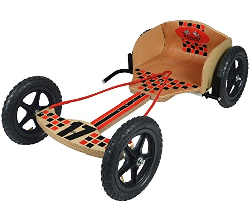 Are you looking for a simple go-cart for outdoor activities? Well, the Toyrific Children Kids Redline Racers Wooden Go Kart is one plausible suggestion. It has a very simple structure that reminds you of the olden days. The affordable unit is made of wood and comes with its own handbrake. We especially like the tires presented as they are durable and can handle outdoor environments. We would recommend this for those in search of a pre-teen/teen go-cart that won't leave them broke. The quality is not compromised even though the unit looks as simple as it can be. It is honestly not a product that you will regret purchasing.