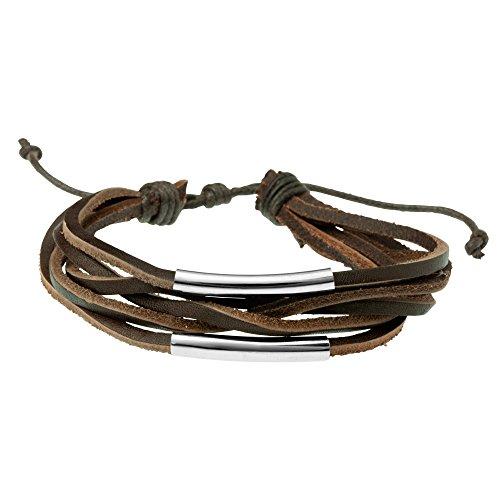 Urban Male Moderne Fünf Stränge Braun Leder Armband, Erweiterbar bis 24cm, für Männer (Erweiterbar Ziehen)