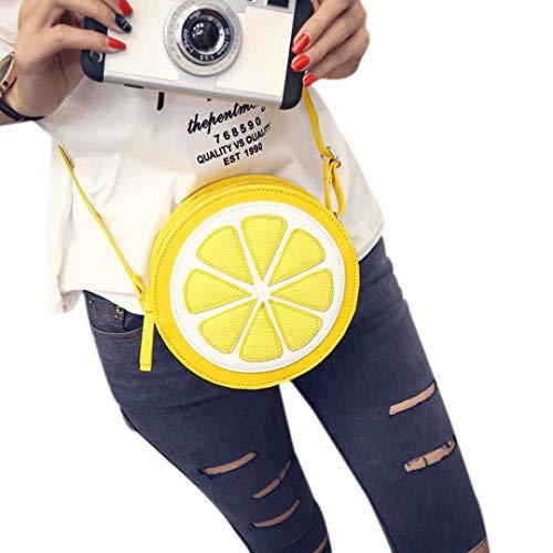 Deloito Damen Schultertasche Frau Mode Persönlichkeit Runde Zitrone Umhängetasche (18 * 18 * 6cm)
