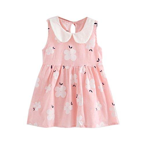 eid Babykleidung Baby Junge Mädchen Print Dresses Kinder Baby Party Kleider Baumwolle hochzeit geburtstag taufen kleid Blumenmädchenkleid LMMVP (Rosa, 90) (Hochzeits-blumen-mädchen-kleider)