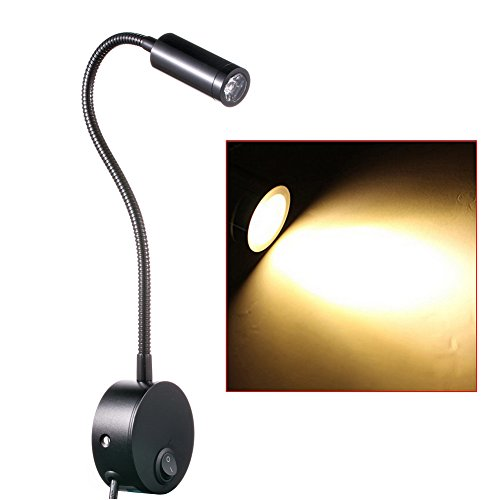Reading wall lights amazon flexible 3 watts 3w uk plug wired gooseneck bedside led wall light sconce lamp for reading art gallery display spotlight lamp aloadofball Image collections