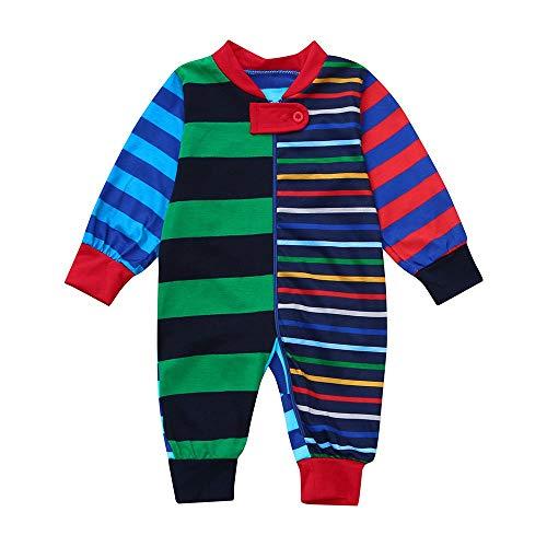 �R Die Familie, Overmal Weihnachts Pyjamas Sets, Xmas Eltern Kind Anzug, Homewear, Kleinkind, Baby, Lange ÄRmel, Streifendruck Spielanzug Jumpsuit Kleidung ()