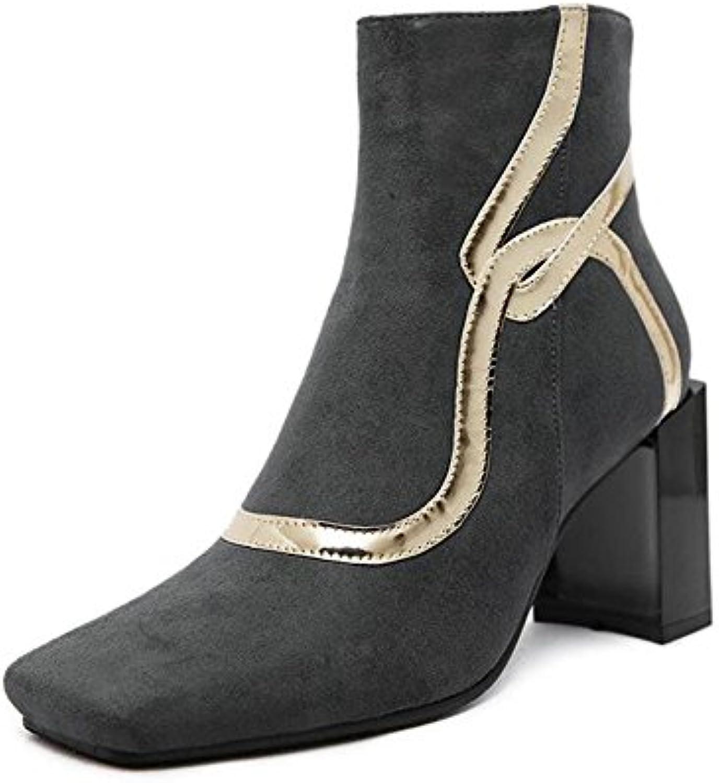 Nouveau Suede Cheville Bottes Chunky Haut Talon Square Toe Design Classique Bottes Creative Design Toe Chaussures antidérapantesB076KYCCG6Parent 319b2b