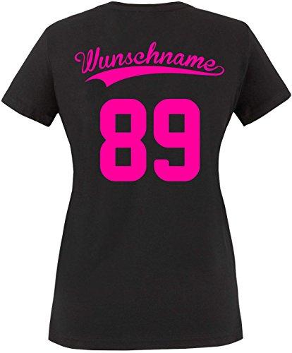 EZYshirt® Wunschnamen und Wunschnummer Brannon Pärchen Rundhals T-Shirt Damen/Schwarz/Neonpink