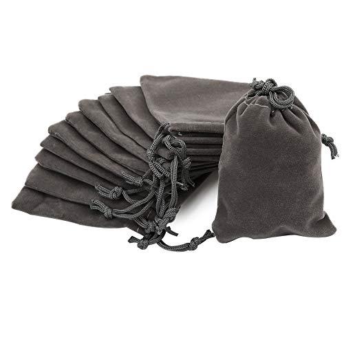 Shintop 10 Stück Schmuckbeutel Samt, Samtsäckchen Samtbeutel Geschenksäckchen für Schmuck und Geschenk-Verpackung (Grau)