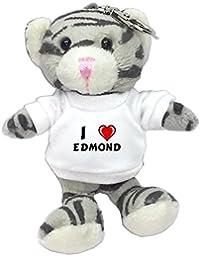 Gato gris de peluche (llavero) con Amo Edmond en la camiseta (nombre de pila/apellido/apodo)