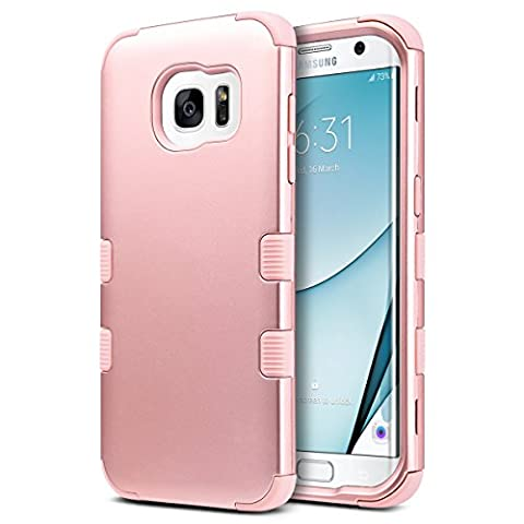 Galaxy S7 Edge Coque, ULAK S7 Edge Coque Housse de Protection Coque Slim Anti-choc Matériaux en Silicone Souple et PC Coque pour Samsung Galaxy S7 Edge (Or Rose)