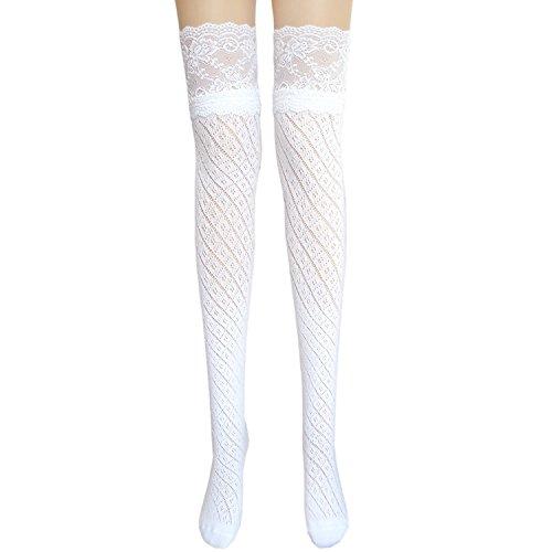 JHosiery Dames bas de coton avec dentelle (blanc #2)