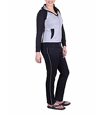 Vivid Bharti Women's Fleece Black Grey Tracksuit (XL) - 3 Piece