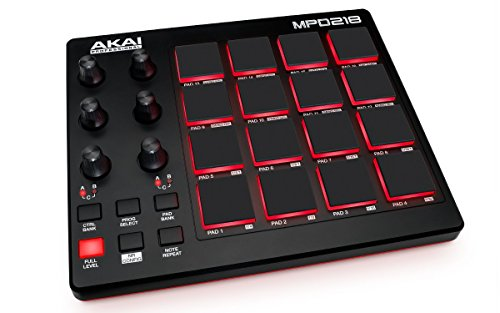41re4BONTxL - NO.1 BEST BUY AKAI Professional MPD218   Ultra-Portable USB MIDI Controller with 16 MPC Pads, Knobs and Software Package price Review uk