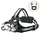 LED Stirnlampe Wiederaufladbar USB, Kopflampe 3000 Lumen mit 5 Helligkeit Modi Wasserdicht, Kopfleuchte Scheinwerfer für Joggen, Laufen, Campen, Angeln, Fahrrad, Arbeit, Outdoor Sports Head Light