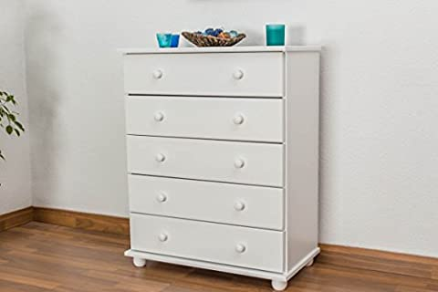 Dresser solid pine wood painted white Junco 136 - Dimensions