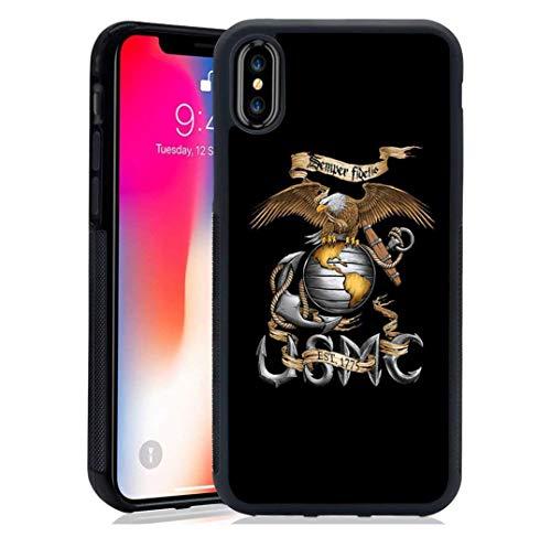 Schutzhülle für iPhone XR USMC Veteran Flag Marine Corps American Soft TPU gehärteter Spiegel Schutzhülle iPhone XR (American Standard-soft)