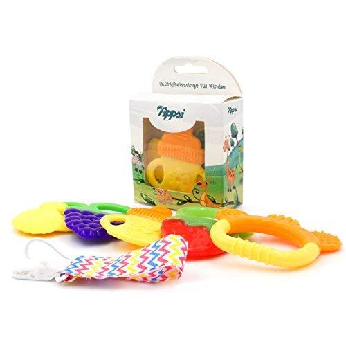 Tippsi Beißringe für Babys - Set mit Beißringen in bunten Obstformen inklusive Clip zum Befestigen. Zur Schmerzlinderung und Befriedigung des Beißdrangs. (5er Set)