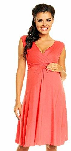 *Zeta Ville Damen Schones Umstandskleid Sommer Kleid Zum Stillen Geeignet 256c Koralle, Gr  EU 40, M*