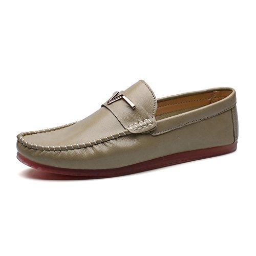 SHELAIDON Herren Men Loafers Shoes Mokassin Leder Schuhe Flache Slippers (EUR38,green)