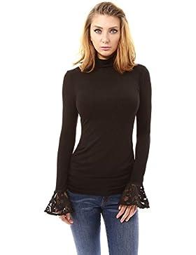 PattyBoutik Mujer campana simulacro de cordón del cuello de la blusa de la manga plisada