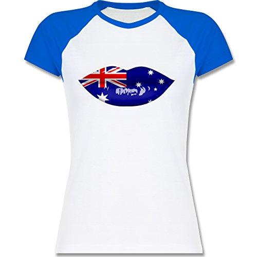 Länder - Lippen Bodypaint Australien - zweifarbiges Baseballshirt / Raglan T-Shirt für Damen Weiß/Royalblau