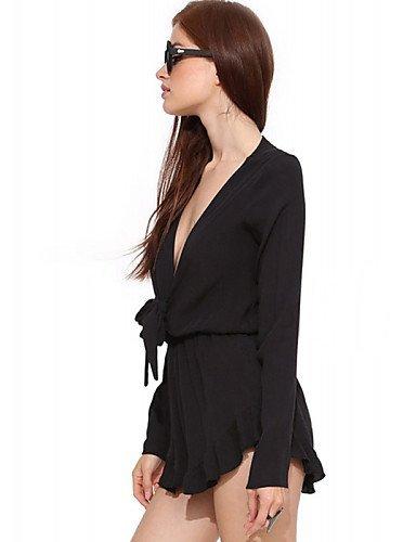 GSP-Combinaisons Aux femmes Manches Longues Sexy Polyester Opaque Elastique black-s
