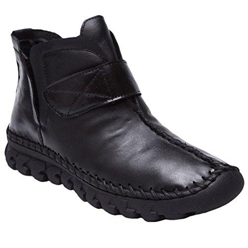 Vogstyle Damen Leisure Retro Stiefel Weiches Leder Leisure retro  Stiefeletten Style 3-Black Fleece